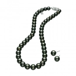 "Mikimoto 16"" Black South Sea Pearl Strand and Earrings Set"