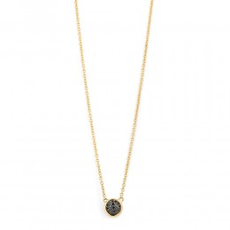 SYNA Small Black & Champagne Diamond Reversible Necklace