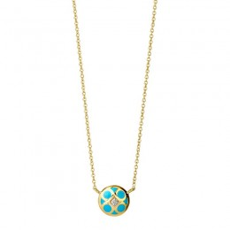 SYNA 18K Yellow Goldturquoise & White Enamel Reversible Pendant