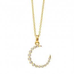 SYNA 18K Yellow Gold Crescent Necklace With Champagne Diamonds