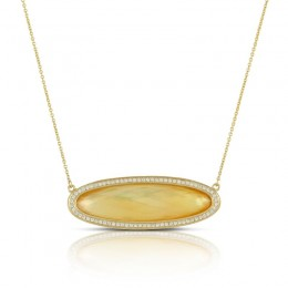 18K Yellow Gold Diamond Necklace With Citrine Over White Mother Of Pearl.