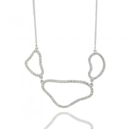 18K White Gold Necklace With All White Diamonds