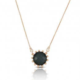 18K Rose Gold Diamond Necklace With Clear Quartz Over Hematite