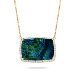 18K Yellow Gold Diamond Necklace With Azurite Malachite