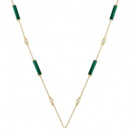 18K Yellow Gold Diamond And Malachite Necklace