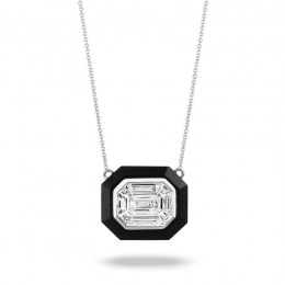 18K White Gold Invisible Set Diamond Necklace With Black Onyx