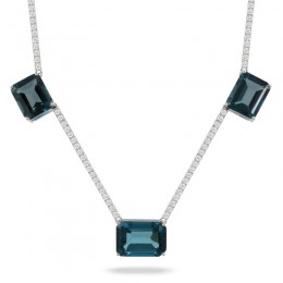 18K White Gold Diamond Necklace With London Blue Topaz