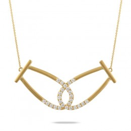 18K Yellow Gold Diamond Necklace In Satin Finish