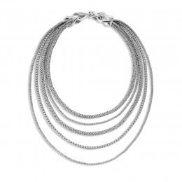 Asli Classic Chain Link Bib Necklace in Silver