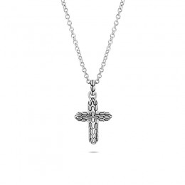 Classic Chain Silver Cross Pendant on Rolo Chain