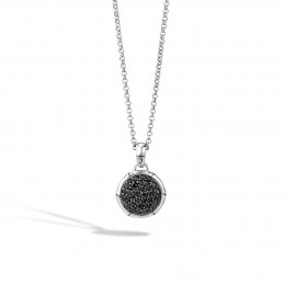 Bamboo Pendant Necklace in Silver with Gemstone