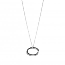 Bamboo Interlinking Pendant Necklace in Silver with Gemstone