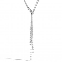 Legends Naga Lariat Necklace in Silver