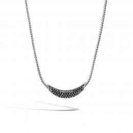 Classic Chain Necklace in Silver with Gemstone
