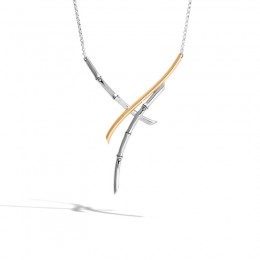 Bamboo Necklace in Silver and 18K Gold