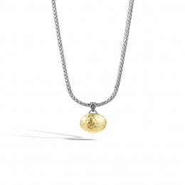 Dot Hammered Reversible Pendant Necklace, Silver, 18K Gold