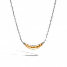 Classic Chain Station Necklace in Silver and Hammered 18K Gold