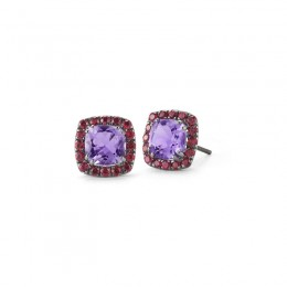 A & Furst Dynamite - Stud Earrings with Amethyst and Rubies, 18k Blackened Gold.