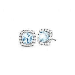 A & Furst Dynamite - Stud Earrings with Blue Topaz and Diamonds, 18k Blackened Gold