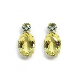 A & Furst Party - Drop Earrings with Prasiolite and Lemon Citrine, 18k Yellow Gold