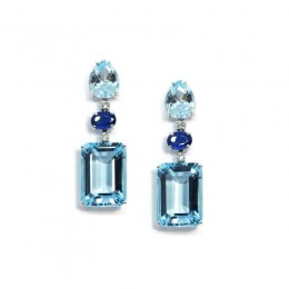 A & Furst Party - Drop Earrings with Blue Topaz, Kyanite and Diamonds, 18k White Gold