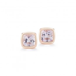 A & Furst Gaia Stud Earrings with Rose de France, 18K Rose Gold