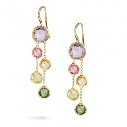 Marco Bicego 18K Yellow Gold Two Strand Earrings With Rose Cut Cushion Multi-Colored Semi-Precious Gemstones.