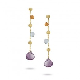 "Marco Bicego 18 Karat Yellow Gold ""Paradise"" Earrings With Mixed Stones."