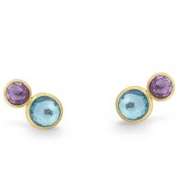 Jaipur Mixed Blue Topaz Two Tone Stud Earrings