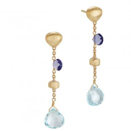 Paradise Iolite and Blue Topaz Short Drop Earrings