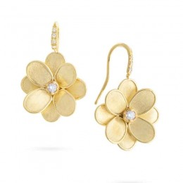 Petali Diamond French Hook Flower Earrings