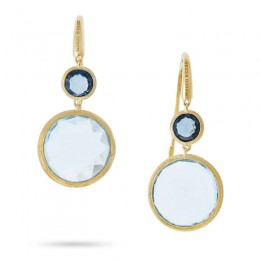 Jaipur Color 18K Yellow Gold and Mixed Blue Topaz Drop Earrings