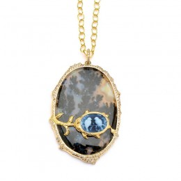 SYNA 18k yellow gold Limited Editon Agate Pendant