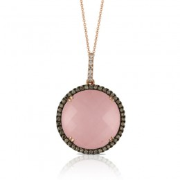 18K Rose Gold Diamond Pendant With Rose Quartz Over Pink Mother Of Pearl And Brown Diamonds White Diamond On Bail