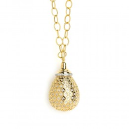 SYNA JEWELS 18KYG & CHAMPAGNE DIAMOND MOGUL DROP PENDANT
