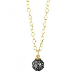 SYNA Oxidized Silver & Champagne Diamond Mogul Ball Pendant