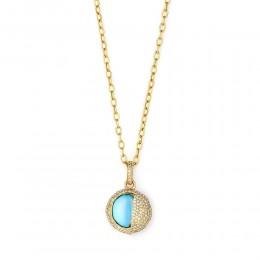 SYNA Blue Topaz & Champagne Diamond Eclipse Pendant