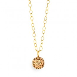 SYNA 18kyg Mogul motif ball pendant with champagne diamonds=appx. .04cts.