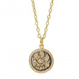 SYNA 18K Yellow Gold 925 Flower Pendant With Champagne Diamonds