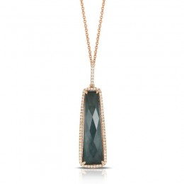 18K Rose Gold Diamond Pendant With Clear Quartz Over Hemattite