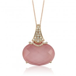 18K Rose Gold Diamond Pendant With Pink Quartz Over Pink Mother Of Pearl