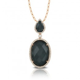 18K White Gold Diamond Pendant With White Topaz Over Hematite In Black Rohdium