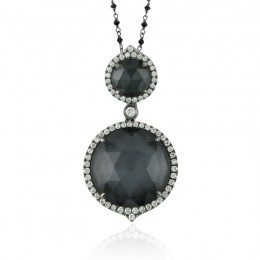 18K White Gold Diamond Pendant With White Topaz Over Hematite