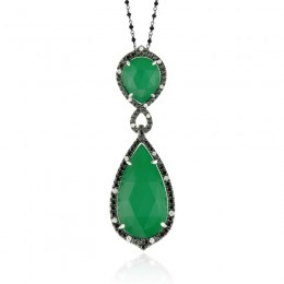 18K White Gold Diamond Pendant With Black And White Diamond With White Topaz Over Green Agate