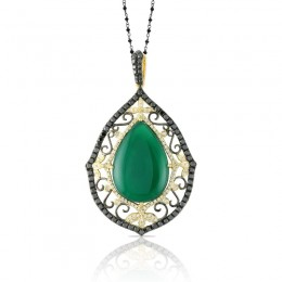 18K Yellow Gold Diamond Pendant With Black And White Diamond With Green Agate