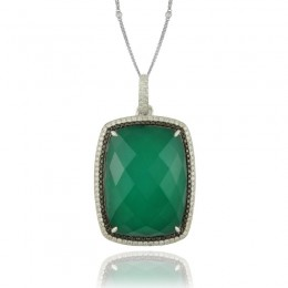 18K White Gold Diamond Pendant With 1 Row Of Black Diamond 1 Row Of White Diamond With White Topaz Over Green Agate