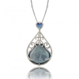 18K White Gold Diamond Pendant With Lapis Base White Mother Of Pearl Middle  And White Topaz On Top  Cabachon Cut