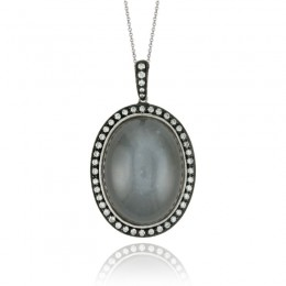 18K White Gold Diamond Pendant With Grey Moonstone