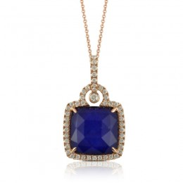 18K Rose Gold Diamond Pendant With White Topaz Over Lapis