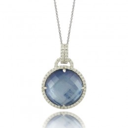18K White Gold Diamond Pendant With Lapis Base White Mother Of Pearl Middle  And White Topaz On Top